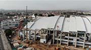 GRUAS AMERICA montaje de coberturas en villa deportiva para Juegos Panamericanos